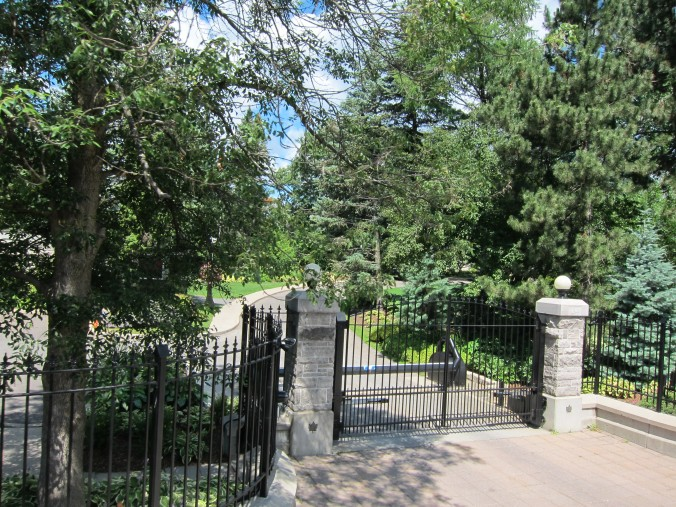 Gates to 24 Sussex Drive. Sad that Harper wasn't there to greet us.