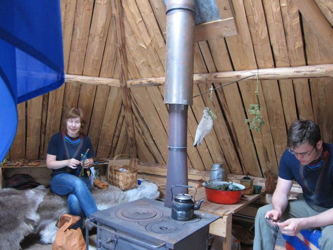 Inside a Saami hut
