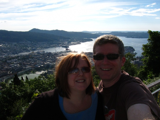 Us at the top of Fløyen mountain