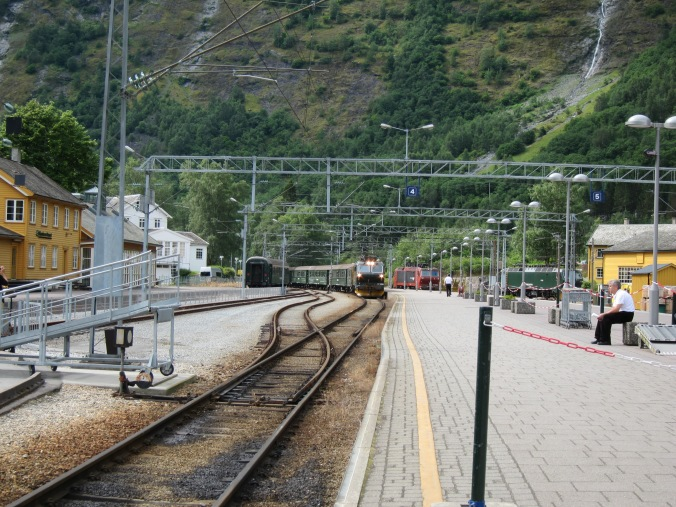 Our train arriving at Flam