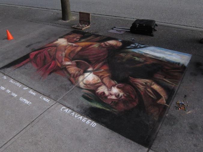Street painting, Burrard/Robson