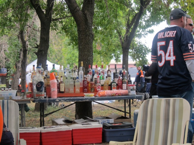 Well stocked bar for a tailgate
