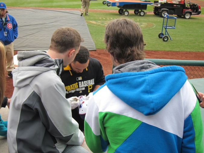 Russell Martin signing an Expos cap