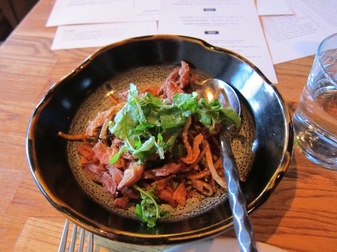 Duck tongues at Girl & the Goat