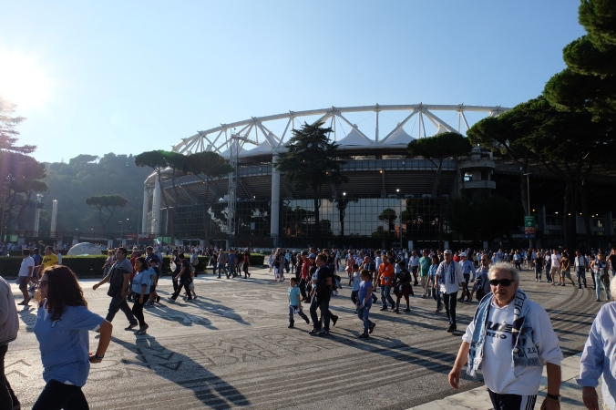 Leaving Stadio Olimpico with happy Lazio fans