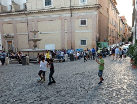 Soccer in Piazza della Madonna dei Monti