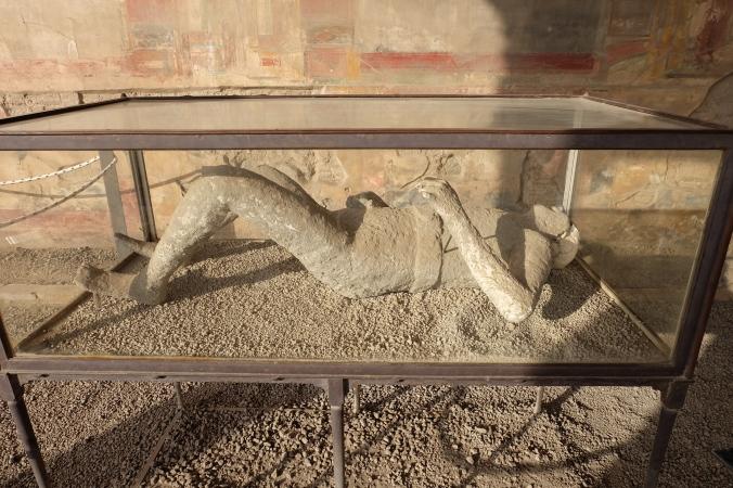 Plaster cast of eruption victim at Pompeii