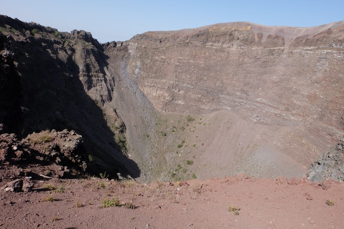 Looking inside the crater of Mount Vesuvius