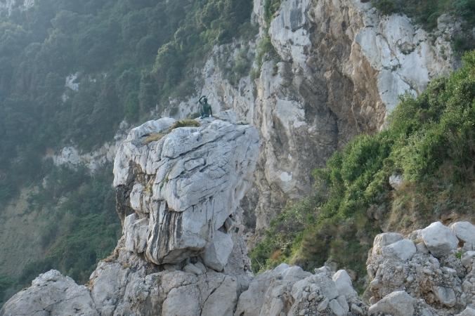 Statue of boy waving, isle of Capri
