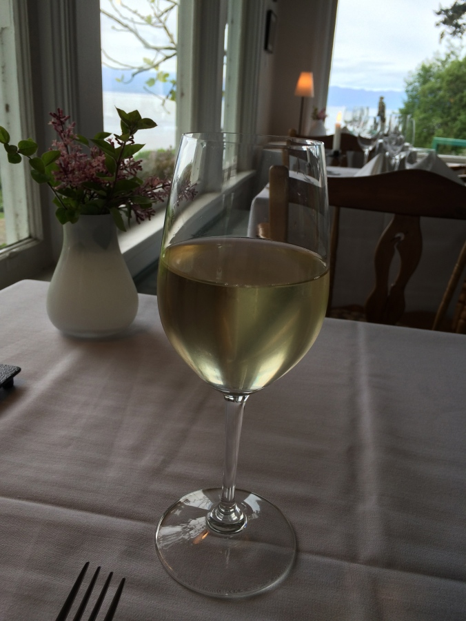 BC wine with dinner at Sooke Harbour House