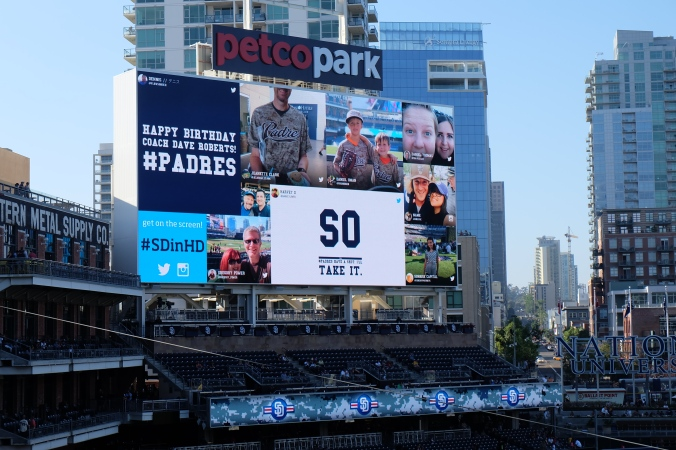 Us on the scoreboard at Petco
