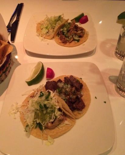 Fish, carnitas and carne asada tacos