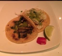 Baja fish and rajas poblano tacos at Don Chido