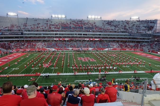 UH band on field before kickoff