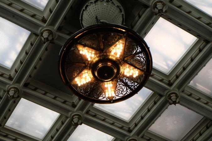 Brass chandelier in Senate chamers