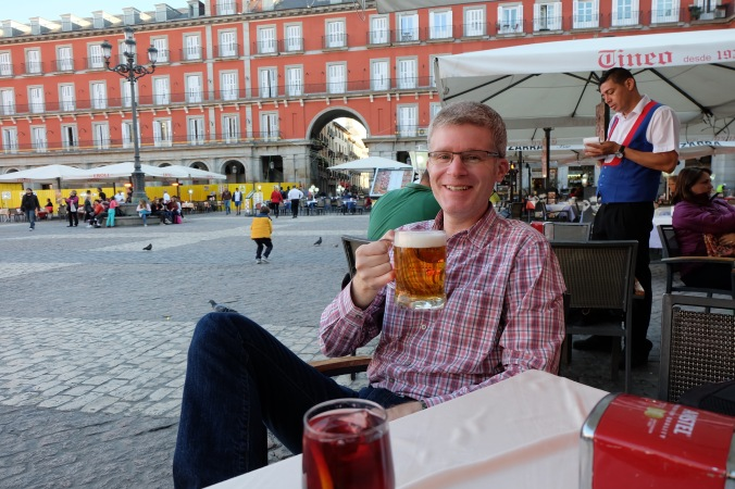 Stopping for a beer in Plaza Mayor