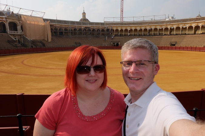 Us at Plaza de Toros in Seville