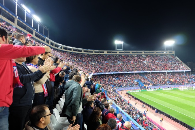 Crowd celebrating Atletico Madrid second goal