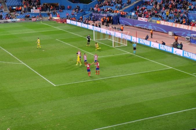 Celebrating 4th Atletico Madrid goal