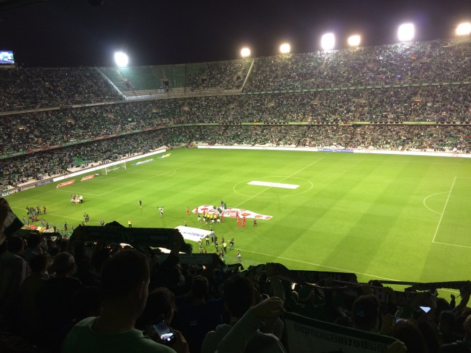 The teams take the field in Seville