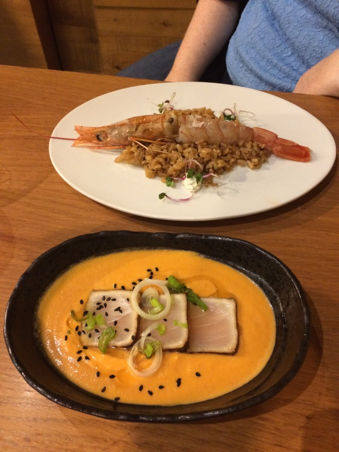 La Pepona - grilled king prawns, Salmorejo w/ swordfish