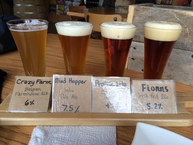 Sampler tray at Prairie Sun Brewery