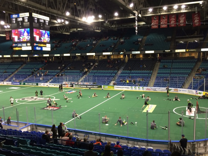 Saskatchewan Rush warm-up
