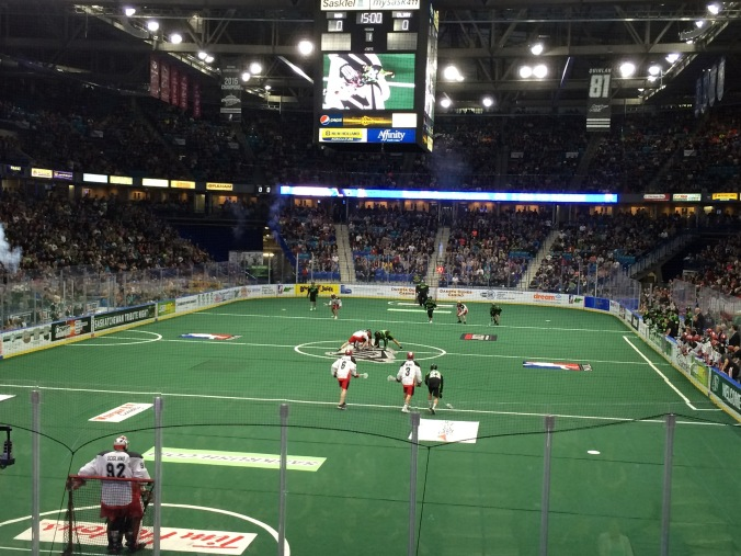 Opening faceoff at Rush game