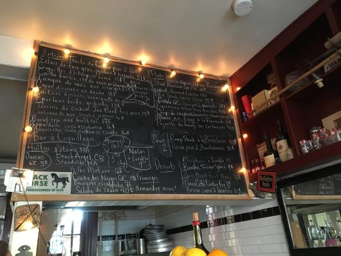 Chalk board menu at Joe Beef