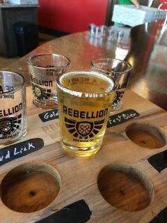 Tasting flight at Rebellion in Regina
