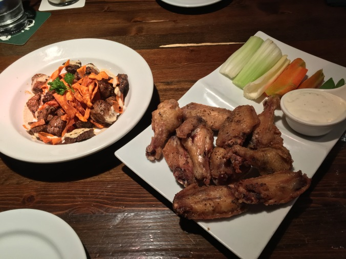 Sirloin bites and chicken wings