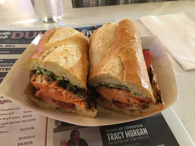 Salmon sandwich at Market Grill