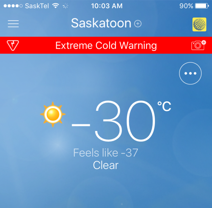 First -30C day in Saskatoon