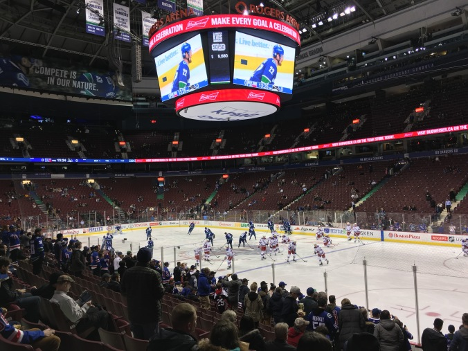 Warmup pre-game in Vancouver