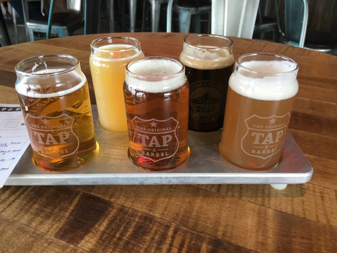 Tasting flight at Tap & Barrel